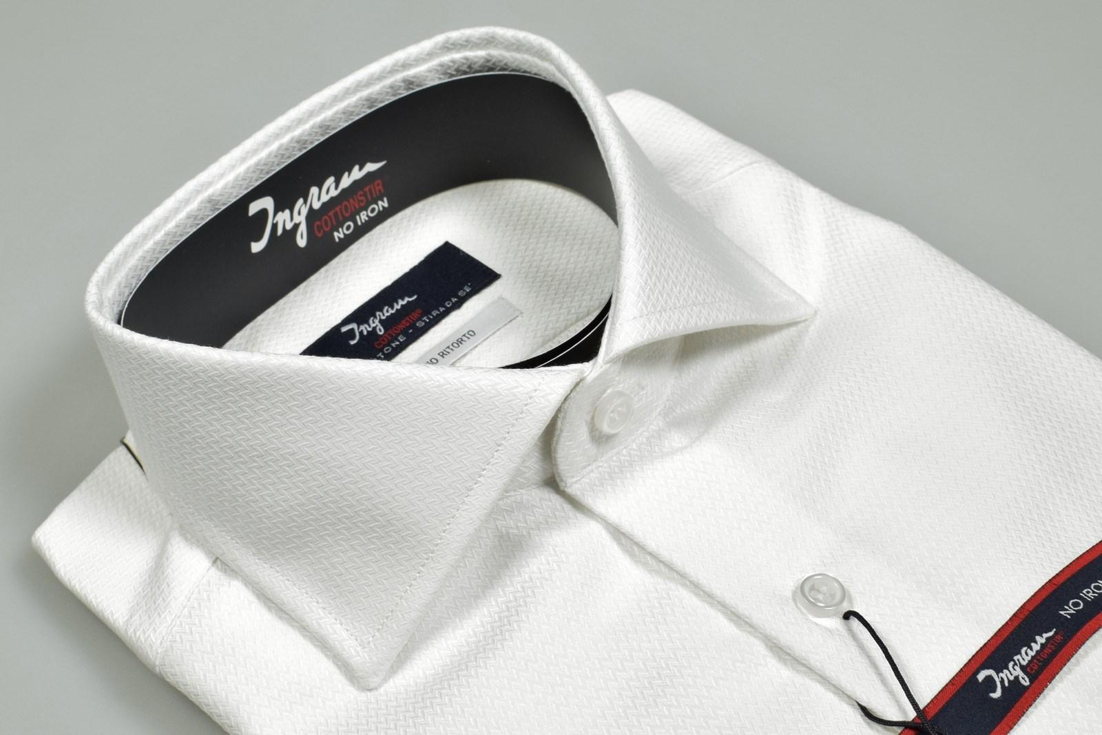 8e4d1f57b5 Dettagli su Camicia Ingram Slim Fit collo Francese Cotone lavorato No Stiro  Doppio Ritorto